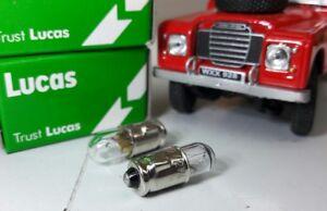OEM Lucas 2W 12V Clear Filament Bulbs Lamps Smiths Gauges LLB281 GLB281 BA7s x2