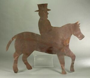 ^ Antique American Folk Art Copper Weather-vane Ornament Horse Rider ORIG. PAINT