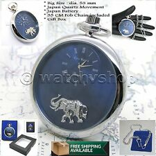 Elephant Dial with Fob Chain Box P167 Silver Antique Pocket Watch Big Size 53 Mm
