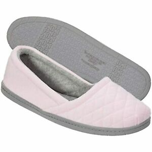 $26 Dearfoams Womens Katie Microfiber Velour Espadrille Slipper Fresh Pink Large