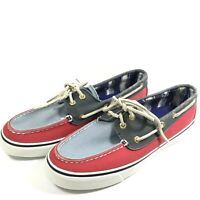 Sperry Top-Sider Boat Sneaker Shoes Womens 7M Muted Gray Blue Red Lace 2-Eye