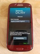 RED - Samsung Galaxy S3 mobile cell phone - un-locked to various networks - USED