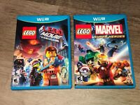 Lego Marvel & The Lego Movie Nintendo Wii U 2 Game Lot Tested Authentic