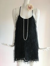 Topshop Black Flapper 1920s Gatsby Charleston Tinsel Tassle Fringe Dress UK 10