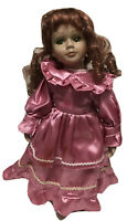 """Victorian porcelain doll collectible redhead And Green Eyes 16"""" Tall With Stand"""