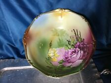 rare Hand painted fine bone china gild bowl 9'' scallop roses Guc