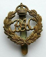 Royal Armoured Corps KC All Brass Hat Cap Badge - Slider to Raer - WW1