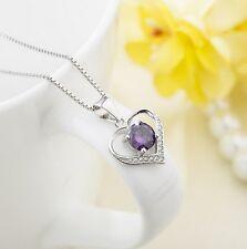 "Sterling Silver Love Heart Cubic Zirconia Amethyst Pendant Necklace 18"" Box PE3"