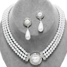 White Pearl Crystal Bridal Formal Wedding Silver Necklace Earrings Jewelry Set