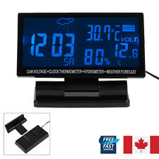 LCD Digital Car Clock Temperature Thermometer Hygrometer Voltage Weather Station