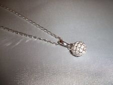 Pave Crystal Ball Necklace Silver Chain 18""