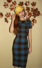 Stop Staring Bombshell Ninet Blue Brown Easter Plaid USA Pinup Pencil Dress XS