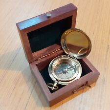 Brass Nautical Push Button Compass With Box Antique