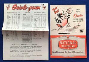 1960 BALTIMORE ORIOLES vs CLEVELAND INDIANS BASEBALL PROGRAM + ORIOLE-GRAM