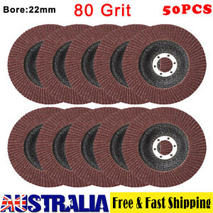 50Pcs Abrasive 5''125MM Metal Sanding Flap Disc Angle Grinder 80 Mixed Grit