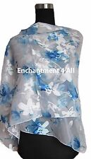 New Stunning 100% Pure Silk Floral Sheer Scarf Wrap, Off White/Blue