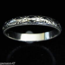 Vintage 18k White Gold Engraving  Wedding Band Anniversary Ring Estate Art Deco