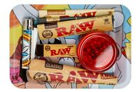 Bundle Rolling Tray Grinder Raw Papers Cones Tips Clipper Lighter Starter Kit