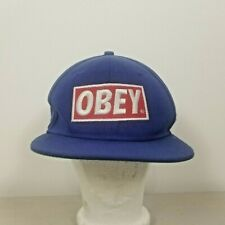 OBEY Classic Patch Mens Hat Snapback Cap Blue Red Wool Blend OSFA One Size