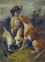 JOHN EMMS, HOUND DOGS, HUNTING. TERRIER, ANTIQUE, VINTAGE, POSTER, ART PRINT