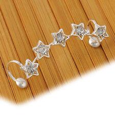 1PC Womens Crystal Star Flower Gold Ear Cuff Stud Earring Wrap Clip On Ear Gift