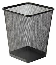 Classic Office Mesh Bin Square Wastebasket 25cm - Black