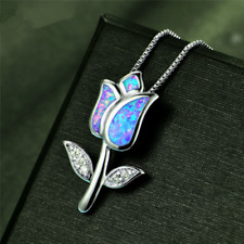 Flower Charm Pendant Necklace Long Chain Jewelry 925 Silver Blue Fire Opal Rose
