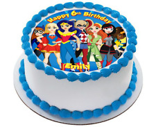 Superhero Girls Edible Circle Cake Topper Birithday Super Hero Wonder Woman