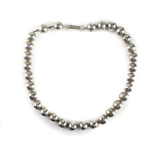 """Vintage Iguala Mexico Mexican Sterling Silver Ball Beaded Necklace, 17"""" / 21g"""