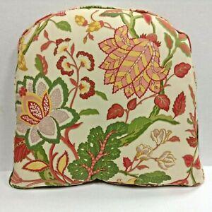 Ballard Designs Mediterranean Floral Chair Cushion rounded back dining NEW