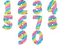Rainbow Number foil balloon- 40 inch for Birthday Decoration, wedding party Etc