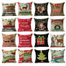 Christmas Series Pillow Case Cotton Linen Pillow Cushion Cover Throw Home Decor