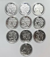 2008-2018 COMPLETE PROOF SET 11 Rwanda Wildlife1oz Silver 999 Coins RARE!