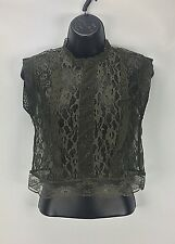 Romeo And Juliet Couture S Small Crop Lace Top Sleeveless Sheer (H234)