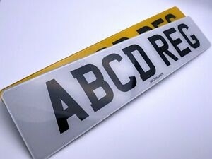 NUMBER PLATES PAIR OF STANDARD FRONT & REAR MOT ROAD LEGAL CAR REG REGISTRATION