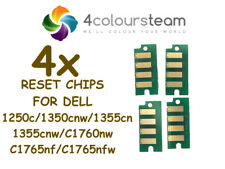 4x TONER RESET CHIPS FOR DELL 1250 1350 1355 C 1760 1765 C1760nw/C1765nf/C1765nf