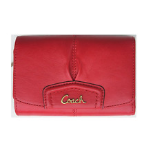 New Authentic Coach Ashley Leather Compact Clutch Wallet Purse Cherry Red F48068