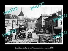 OLD 8x6 HISTORIC PHOTO OF KETCHIKAN ALASKA THE MAIN STREET & STORES c1930