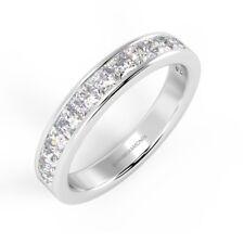 F/VS 1.25 Carat Princess Diamond Channel Set Half Eternity Ring, 18k White Gold