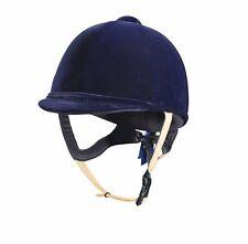 Caldene Tuta velvet horse riding hat helmet PAS015.2011 leather strap navy black