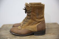 Vintage 80s 90s Brown Suede Laredo Laceup Cowgirl Western Stitched Boots 7.5 M