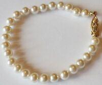 bracelet de perles bijou rétro vintage attache couleur or nœud sécurité 5317
