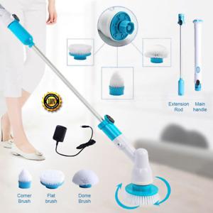 Waterproof Turbo Scrub Electric Cleaning Brush Heads+broom Set Tile Bathroom NEW