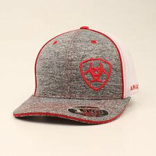 Ariat Mens Baseball Cap Offset logo SnapBack Heather Red 15049004