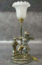 ANCIENNE LAMPE VINTAGE EN REGULE DECOR ANGE ET PATE DE VERRE