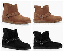 New UGG BNIB £140 Suede Leather Women's Ankle Biker Unlined Shoes Boots UK 6 7 8