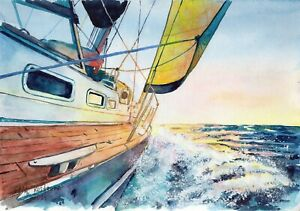 Sea Sunrise original watercolor Gala Kostroma landscape ocean painting sailboat