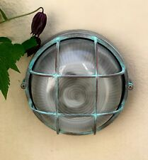 Retro Round Die-Cast Metal Ind. Vintage Bulkhead Wall Light Verdigras Finish
