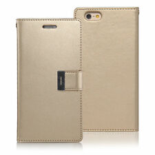 For iPhone 7 Genuine Mercury Goospery Rich Diary Gold Flip Case Wallet Cover