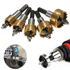 5x HSS Drill Bit Hole Saw Set Stainless Steel Metal Alloy 16-30mm + Wrench+ Box